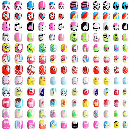 288 Pezzi Unghie Finte per Bambini, Kalolary Corte Pre-colla Unghie Artificiale per Bambini Corti con 48 Pezzi Adesivi Colla per Unghie, Unghie Finte Carine per Bambine Unghie Nail Art Decor