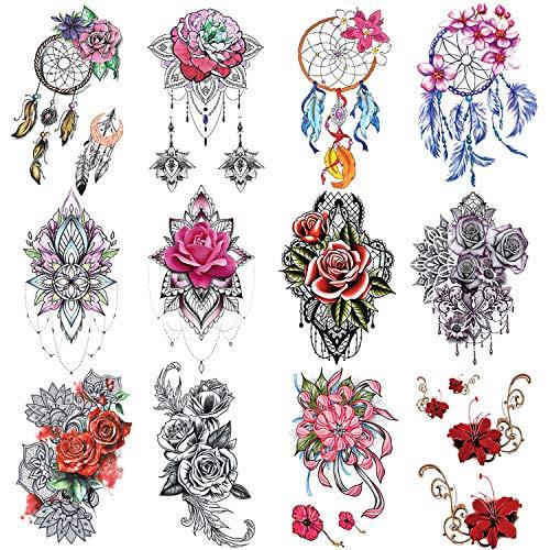 PHOGARY 12 fogli Grande rosa Tatuaggi temporanei (Fiore di Boho e acchiappasogni) per le Signore, Adesivi Colorati per Tatuaggi Finti, Body Art Impermeabile