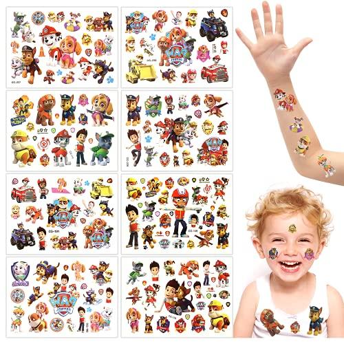 8 Fogli Tatuaggi Temporanei per Bambini, Ragazze Tatuaggio, Tatuaggi per Bambini Paw Dog Patrol, Adesivi Impermeabili e Durevoli, Oggetti di Scena per Feste di Compleanno per Ragazzi e Ragazze