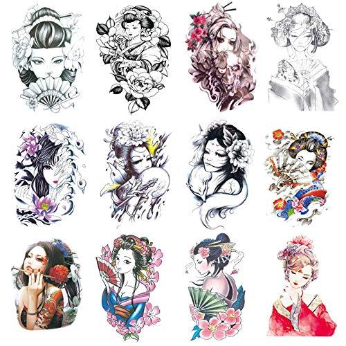 YLGG Adesivi per Tatuaggi temporanei alla Moda Geisha, Adatti per Uomini e Donne, Impermeabili, Rimovibili