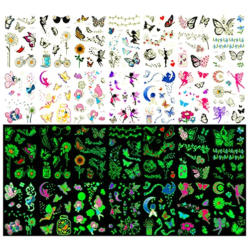 Qpout Tatuaggi Temporanei Per Bambini, 14Fogli 120pezzi Glow In The Dark Tatuaggi Farfalle Colorate in Stile Differente per Bambini Ragazze Festa di Compleanno Bomboniere Forniture Regalo Decora