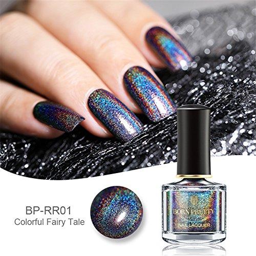 BORN PRETTY Smalto olografico con brillantini lucido da 6 ml per nail art