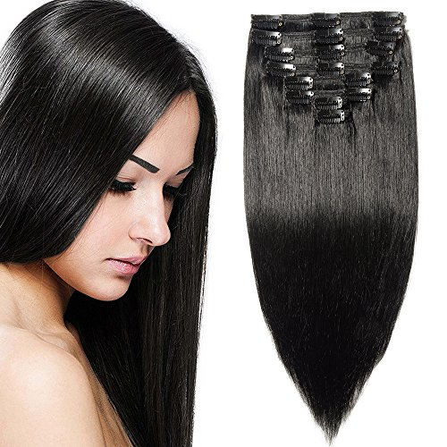 Elailite Extension Capelli Veri Clip Volumizzante Set da 8 Fasce Folte Double Weft Full Head 100% Remy Human Hair Nautrali 50cm 150g #01 Jet Nero