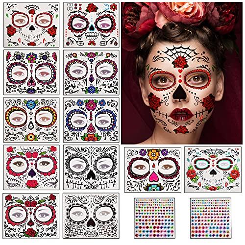 Herefun Halloween Tatuaggi Temporanei, 10Fogli Viso Temporaneo Tattoos Adesivi + 1Fogli Adesivo Gemma, Tatuaggi temporanei del teschio di zucchero per Halloween, Maskerade, Cosplay Party (14Pcs)