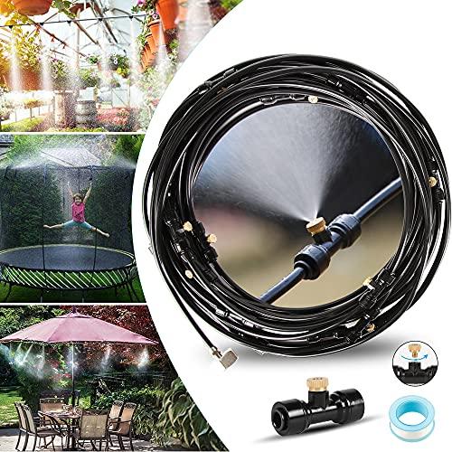 infinitoo Nebulizzatore Giardino, 15M Kit di Nebulizzatore da Esterno, Sistema di Irrigazione Raffreddamento Nebulizzazione per Ombrellone Gazebo Serre e Trampolini (18 Ugello)