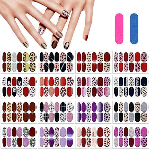 MWOOT 16 Fogli Leopardo Adesivo Smalto per Unghie, Unghie Adesivi Decalcomanie,Autoadesivo Nail Art Stickers per Manicure le Punte Decorazioni