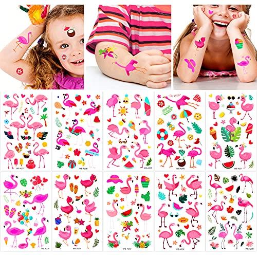 Qpout Tatuaggi temporanei di fenicotteri per bambini, Adesivi per tatuaggi con decorazioni per feste hawaiane estive, per ragazze ragazzi donne uomini regali per feste di compleanno