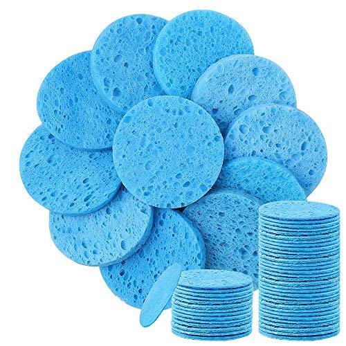 50 spugne per il viso, compresse in cellulosa naturale, riutilizzabili, per la pulizia del viso, maschera esfoliante per il viso, massaggi, rimozione del trucco, colore blu