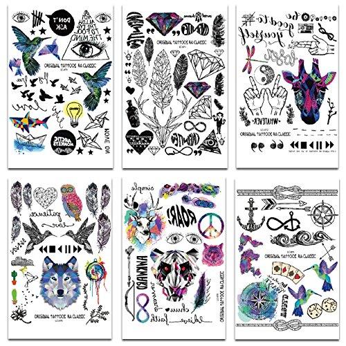 Chileeany Set di 8 fogli Tatuaggi temporanei,impermeabile tatuaggio temporaneo 21×15cm