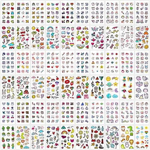 Qpout Tatuaggi Temporanei Per Bambini Adulti Donne (60 Fogli), 800 Pezzi Impermeabile Tatuaggi Finti Adesivi Per Il Viso Arte Manica Collo Tatuaggi Mini Animali Colorati Frutta Verdura Clima Umore
