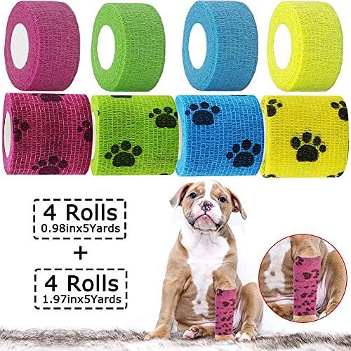 Bendaggio Coesivo Autoadesivo, Fasciatura Benda Elastica Coesiva per Cani Animali, Garza Bende Veterinario adesive, in 4 Colori, 2,5 cm x 4,5 m (4 Rotoli), 5 cm x 4,5 m (4 Rotoli) (8 pezzi)