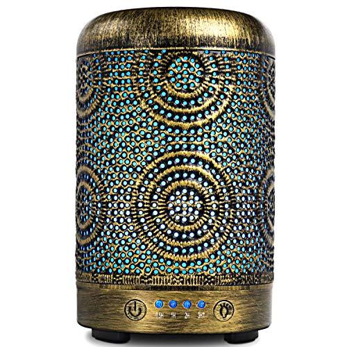 SALKING Diffusore di Oli Essenziali, 100ml Metallo Diffusore di Aromi, Ultrasuoni Aromaterapia Diffusore con 7 Colori LED Luce Notturna, Diffusore per Oli Essenziali Senza BPA, Profumazione Ambiente