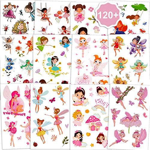 Qpout Tatuaggi temporanei di fata fiore per ragazze(120 + pz), Adesivi per tatuaggi impermeabili principessa fata fiore, regali per la decorazione della festa della principessa compleanno per bambini