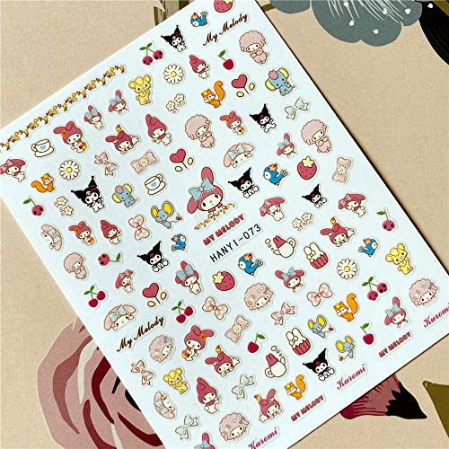 BLOUR HANYI-070-071-073 Cartoon Anime Kiki 3D Back Glue Decalcomania per Unghie Adesivo per Unghie Decorazione per Unghie Nail Art Strumento perUnghie Ornamento per Unghie
