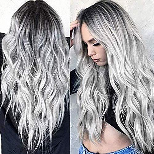 YUNSI - Parrucca da donna con radici, colore grigio argento e grigio sfumato, ondulato, per feste, Halloween (grigio)