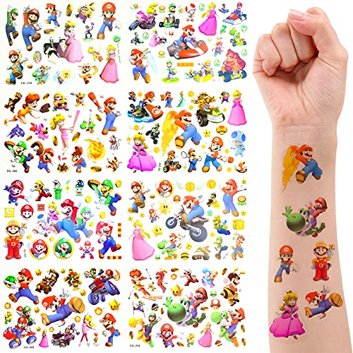 Yisscen Super Mario Tatuaggi per Bambini, 8 Fogli Adesivi Tatuaggi Temporanei, Ragazzo Ragazza Tatuaggi Finti, Tatuaggi Temporanei Bambini Giocattoli Usato per Festa di Compleanno Mario Party