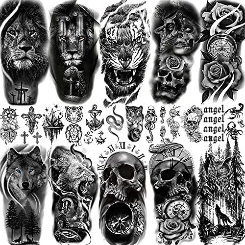 Bilizar 22 Fogli Grande Tatuaggi Temporanei Adulti Donna Uomo Tigre Leone Guerriero Foresta Lupo Teschio Rosa Kit Tatuaggi Finti Bambini Maschi Bambina Braccio Manica Avambraccio Adesivi Per Tatuaggi