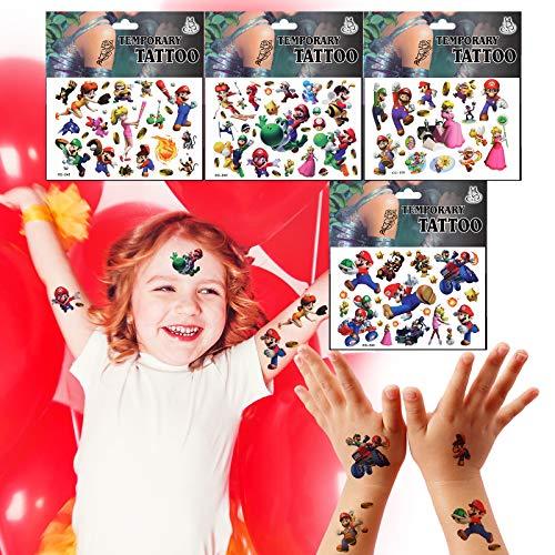 Yisscen Tatuaggi Temporanei, Set di Tatuaggi per Bambini Super Mario, 4 Fogli Tatuaggi Impermeabili per Bambini, per Ragazze Ragazzi Compleanno Decorazioni per Feste Regalo