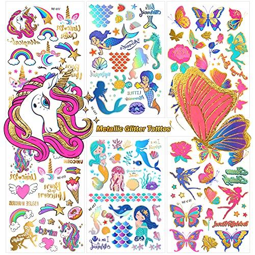 Metallico Brillantina Tatuaggi Temporanei per Bambini,6 Fogli Unicorno Sirena Farfalla Tatuaggi Set,Falso Tatuaggio Temporaneo Adesivi per Ragazze Ragazzi Feste di Compleanno