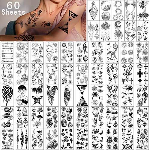 Tatuaggi Temporanei 60 Fogli-Impermeabile Piccolo Tatuaggio Finto, Corone di Fiori Stelle Farfalla Animale Tatuaggi collezione per Bambini Adulti uomini e Donne.