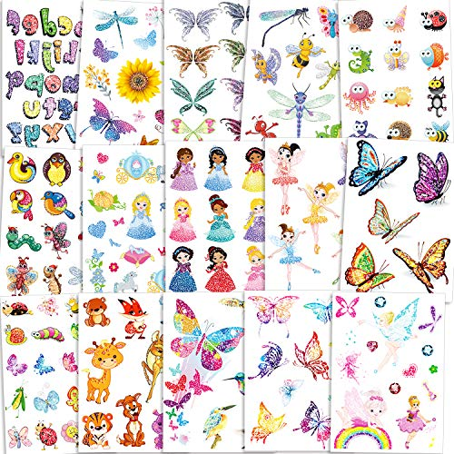 Qpout 180 pz Tatuaggi flash per bambini, flash tatuaggi temporanei fata/principessa disney/farfalla/adesivi tatuaggio animali, ricompensa scuola regalo compleanno bambini ragazze