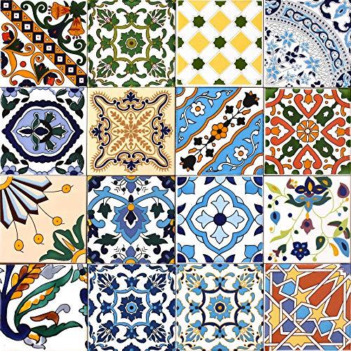 16 Mattonelle MISTE in ceramica smaltata. Pacco contenente 16 mattonelle decorate 15 X 15 cm spessore 0,6 cm - Mattonelle Tunisine realizzate con Serigrafia Artigianale. Adatte a rivestimento.